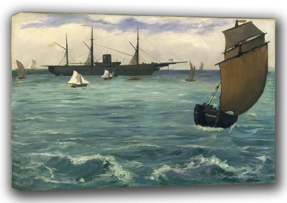 Manet, Edouard: Fishing Boat Coming in Before the Wind/The Kearsarge at Boulogne. Fine Art Canvas. Sizes: A3/A2/A1 (00675)